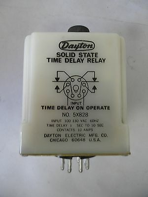 DAYTON 1-10 Second Solid State Time Delay Relay 5X828, 60Hz, 130VAC, 10A