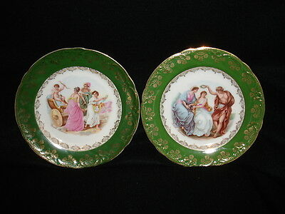 Germany KPM 2 china plates 7.5in green rim gold trim mythological figures 1903