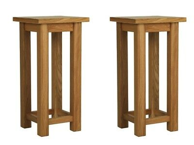 Antique Rustic Solid Oak Pair of Bedside Tables Compact Slim Slender Small Tall