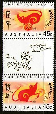 Christmas Island 1996 Year Of Rat Gutter Pair