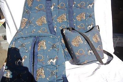 6-20 Insulated tapestry saddle carrier,bridlebag, purse- horses, bugles, hounds
