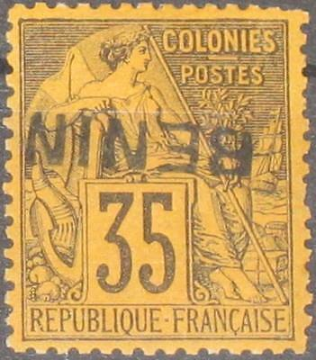BENIN 1892 10 KD inverted ovp Navigation Peace & Commerce Allegory Allegorie MLH