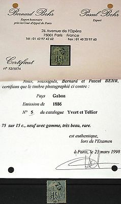GABON GABUN 1886 5 french Colonies ovp with Certificate Navigation & Commerce *
