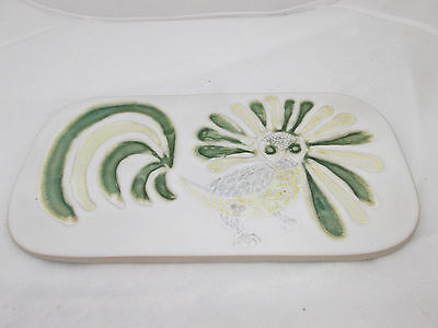 BENNINGTON POTTERY STYLIZED YELLOW & GREEN BIRD TRIVET OR WALL HANGING
