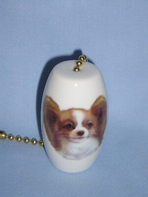 Papillon Dog Porcelain Fan & Light Pull 2 In long 6 In Chain Fired Head Decal -H