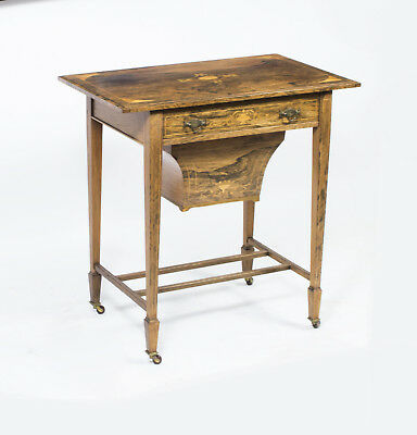 Antique Edwardian Inlaid Rosewood Workbox Table c.1900