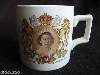 Vintage Crown Clarence Pottery Queen's Coronation Commemorative China Mug 1953