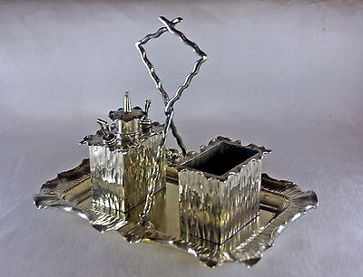 SilverPlate Hukin & Heath Desktop Smokers Set Christopher Dresser Design