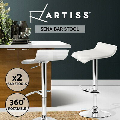 2x Bar Stool Kitchen Barstool PVC Leather Chair Gas Lift Swivel White 706