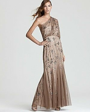 $300 Adrianna Papell Putty Beige Bead Sequin Flutter Sleeve Gown 4 6 8 NWT A401