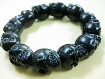 Tibet Men's Black Skull Head Beads Ethnic Bracelets Jewelry 20cm 36g cool gift