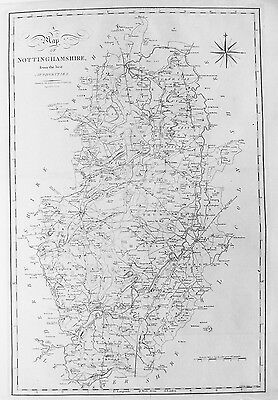 OLD ANTIQUE MAP NOTTINGHAMSHIRE by J CARY c1805 19th CENTURY ANTIQUE ENGRAVING