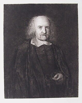 OLD ETCHING THOMAS HOBBES PORTRAIT c1884 by HONTHORST / MURRAY A PHILOSOPHER