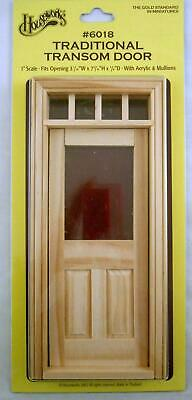 Dolls House Miniature 1:12 Scale Natural Wood Traditional Transom Fanlight Door