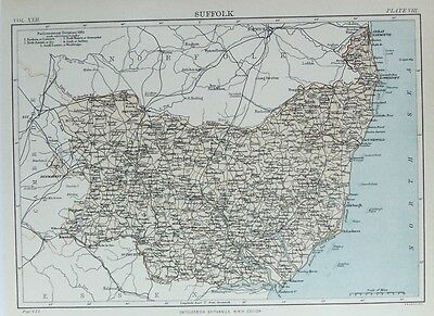 OLD ANTIQUE MAP SUFFOLK c1880's by W & A K JOHNSTON 19th CENTURY PRINTED COLOUR