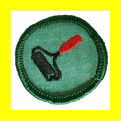 1960s PRINTS Girl Scout Badge Patch RARE Ink Roller Light Green Multiples