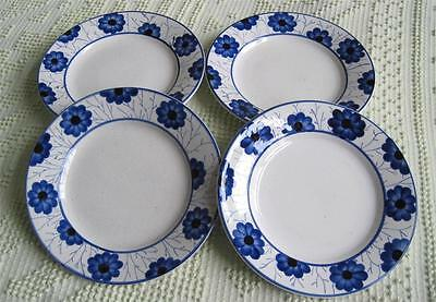 "Four German Blue Floral Pottery 7.5"" Plates"
