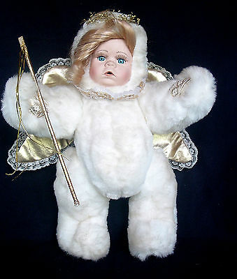 """Pretty 13"""" Plush JOINTED Posable Angel Doll with Porcelain Head"""