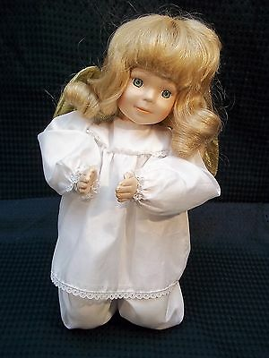"Sooo Sweet! Cloth / Porcelain 10"" Collectible Kneeling Angel w/ Gold Wings"