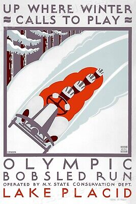 1930s Olympic Bobsled Run Lake Placid Winter Sports WPA Poster - 24x36