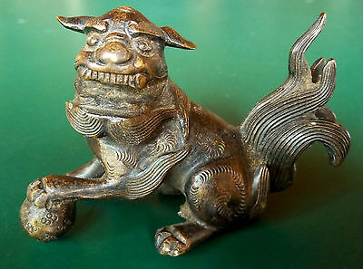 Unusual Antique BRONZE Chinese FOO DOG