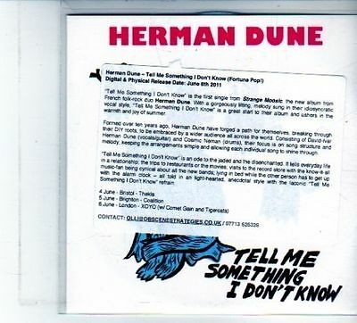 (DU478) Herman Dune, Tell Me Something I Don't Know - 2011 DJ CD