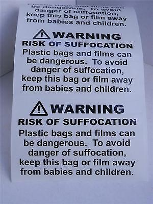 RISK OF SUFFOCATION FBA warning label sticker clear bkgd 24 pt print 125/rl