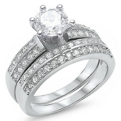 1.50ct Round Cz .925 Sterling Silver Ring Set Sizes 5-11