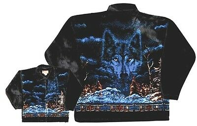 Mystic Wolf Native Plush Fleece Jacket New (Xs - 2x)