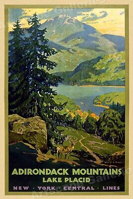1938 Winter Olympics Bobsled Lake Placid Vintage WPA Poster 24x36