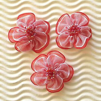 """US SELLER - 30 x (1.25"""") 2-Layer Organza Ribbon Flower Appliques w/Beads ST429R"""