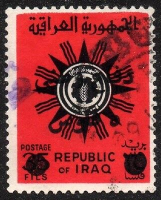 "1972 Iraq ""Postal Tax"" - No.RA16(a54a) 5f on 35f - Red with Black Ovpt. - Used"