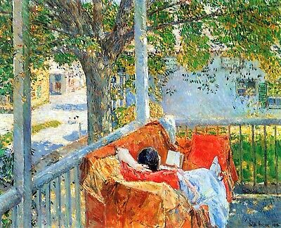 Couch and Veranda at Cos Cob by Hassam Giclee Fine Art Print Repro on Canvas