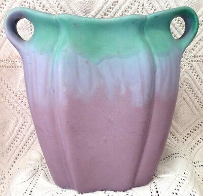 Muncie Early 20Th Century Green Drip Over Lilac Pillow Vase