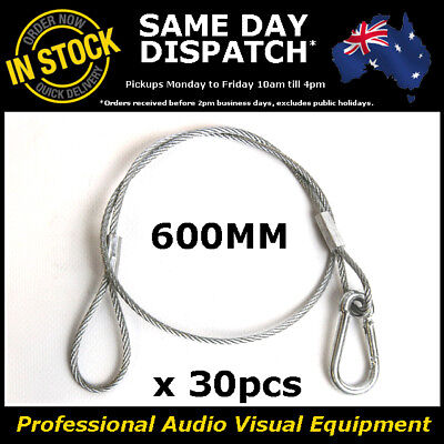 30 x 600mm Steel Safety Security Cable Stage Lighting Light Clamp LED PAR Can