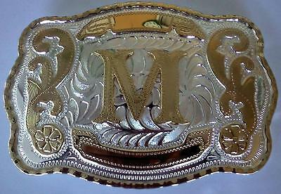 "New Initial ""M""  Rodeo Big Cowboy Western Belt Buckle"