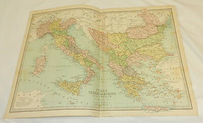 """1878 Antique COLOR Map/ITALY, GREECE, TURKEY in EUROPE/Large 12.5x17"""" Plus Index"""