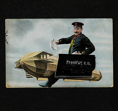 1914 Gruss Postman on Zeppelin with leather bag picture portfolio contains Mini