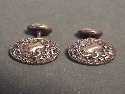 Fancy Pair Antique Gold Victorian French Cuff Links - Oval W Engraved Initials