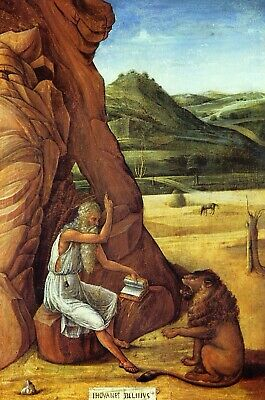 Jerome in the Desert by Giovanni Bellini Giclee Fine Art Print Repro on Canvas