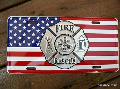 FIRE FIREFIGHTER FIGHTER RESCUE DEPT American Flag Truck License Plate Man Cave