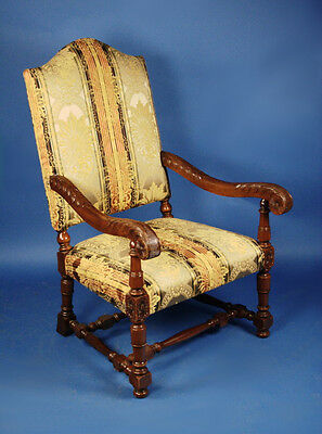 Antique French Furniture Mahogany Upholstered Armchair