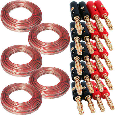 75M Speaker Cable & 20 Banana Plugs - 5.1 Surround Sound System - Wire Reel Loud
