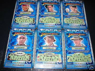 Saga Indiana Jones French Lottery Tickets Complete Set Francaise Des Jeux