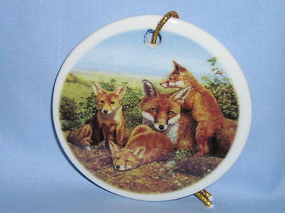 Red Fox Family 3 In Round Christmas Tree Ornament Porcelain Fired Decal