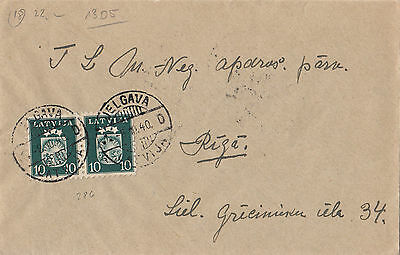 Stamp 1940 Latvia 10s arms & stars pair on cover sent JELGAWA locally