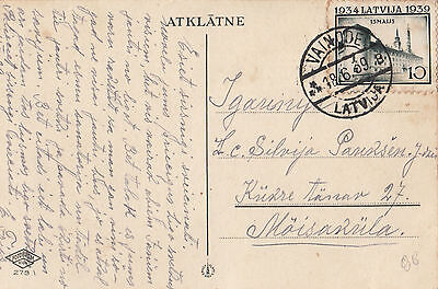 Stamp 1939 Latvia 10s Riga Castle on postcard sent locally from VAINODE