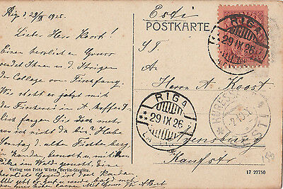 Stamp 1926 Latvia 15s definitive on postcard sent RIGA to Arensburg Estonia