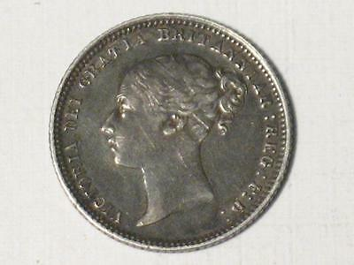 1872 Great Britain Six Pence - 6 Penny - Silver World Coin