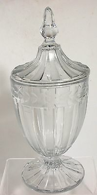 Heisey - No.465 - RECESSED PANEL - 1lb Candy Jar with Floral Cutting